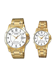 Casio Analog Quartz Couple Unisex Watch Set with Stainless Steel Band, Water Resistant, MTP/LTP-V004G-7B, Gold-White