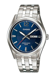 Casio Enticer Analog Watch for Men with Stainless Steel Band, Water Resistant, MTP-1335D-2ADF, Silver-Blue