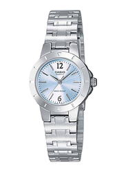 Casio Analog Quartz Watch for Women with Stainless Steel Band, Water Resistant, LTP-1177A-2ADF, Silver-Blue
