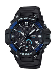 Casio Analog Wrist Watch for Men with Resin Band, Water Resistant and Chronograph, MCW-110H-2AVDF, Black-Blue