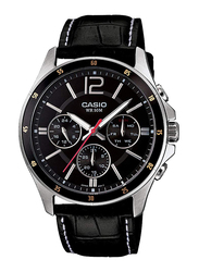 Casio Enticer Analog Watch for Men with Leather Band, Water Resistant with Chronograph, MTP-1374L-1, Black