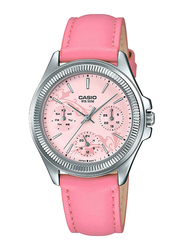 Casio Enticer Analog Watch for Women with Leather Band, Water Resistance and Chronograph, LTP-2088L-4A2VDF, Pink