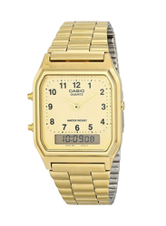 Casio Analog/Digital Quartz Watch for Men with Stainless Steel Band, Water Resistant, AQ-230GA-9D, Gold