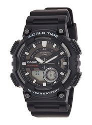 Casio Youth Series Analog/Digital Quartz Watch for Men with Resin Band, Water Resistant, AEQ-110W-1A, Black-Black/White