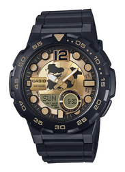Casio Analog/Digital Watch for Men with Resin Band, Water Resistant, AEQ-100BW-9AVDF, Black-Gold
