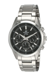 Casio Edifice Analog Watch for Men with Stainless Steel Band, Water Resistance and Chronograph, EFR-527D-1AVUDF, Silver-Black