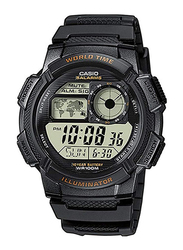 Casio Youth Series Digital Watch for Men with Resin Band, Water Resistant, AE-1000W-1AV, Black