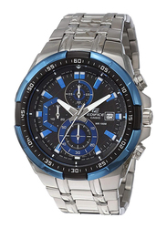 Casio Edifice Analog Watch for Men with Stainless Steel Band, Water Resistance and Chronograph, EFR-539D-1A2VUDF, Silver-Black/Blue