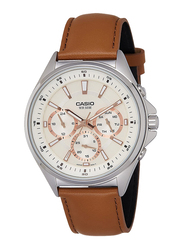 Casio Enticer Analog Quartz Watch for Men with Leather Band, Water Resistant with Chronograph, MTP-E303L-9AVDF, Brown-Off White