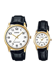 Casio Analog Quartz Couple Unisex Watch Set with Leather Band, Water Resistant, MTP/LTP-V001GL-7BUDF, Black-White