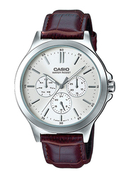 Casio Analog Watch for Men with Leather Band, Water Resistant and Chronograph, MTP-V300L-7AUDF, Brown-Silver