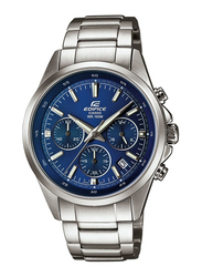 Casio Edifice Analog Watch for Men with Stainless Steel Band, Water Resistance and Chronograph, EFR-527D-2A, Silver-Blue