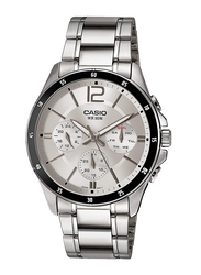 Casio Enticer Analog Watch for Men with Stainless Steel Band, Water Resistant with Chronograph, MTP-1374D-7A, Silver