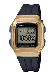 Casio Youth Digital Unisex Watch with Resin Band, Water Resistant, F-201WAM-9AVEF, Black-Gold
