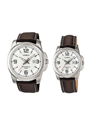 Casio Enticer Analog Quartz Couple Unisex Watch Set with Leather Band, Water Resistant, MTP/LTP-1314L-7AV, Brown-White