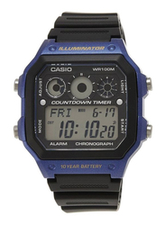 Casio Youth Series Digital Watch for Men with Resin Band, Water Resistant and Chronograph, AE-1300WH-2AVEF, Black-Black/Purple