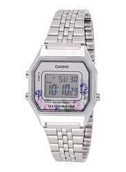 Casio Vintage Digital Watch for Women with Stainless Steel Band, Water Resistant and Floral Print Dial, LA680WA-4C, Silver