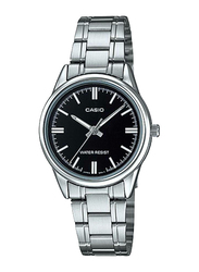 Casio Analog Watch for Women with Stainless Steel Band, Water Resistant, LTP-V005D-1A, Silver-Black