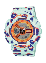 Casio Baby-G Analog/Digital Watch for Women with Resin Band, Water Resistant, BA-110FL-3AER, Blue/Green-Orange