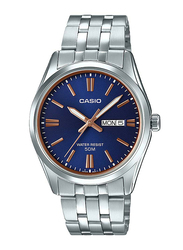 Casio Enticer Analog Watch for Men with Stainless Steel Band, Water Resistant, MTP-1335D-2A2VDF, Silver-Blue