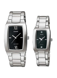 Casio Enticer Analog Quartz Couple Unisex Watch Set with Stainless Steel Band, Water Resistant, MTP/LTP-1165A-1C2, Silver-Black