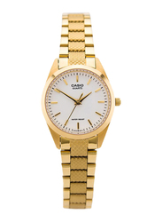 Casio Core Analog Watch for Women with Stainless Steel Band, Water Resistant, LTP-1274G-7ADF, Gold-White