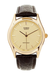 Casio Enticer Analog Quartz Watch for Men with Leather Band, Water Resistant, MTP-1094Q-9A, Brown-Gold