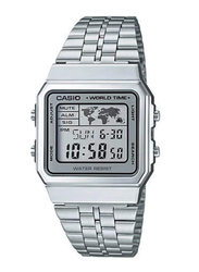 Casio Vintage Digital Quartz Watch for Men with Stainless Steel Band, Water Resistant, A500WA-7, Silver-Grey