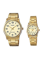 Casio Enticer Analog Quartz Couple Unisex Watch Set with Stainless Steel Band, Water Resistant, MTP/LTP-V001G-9BUDF, Gold