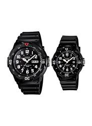 Casio Analog Couple Unisex Watch Set with Resin Band, Water Resistant, MRW-200H-1B/LRW-200H-1B, Black
