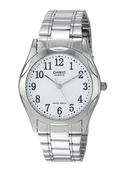 Casio Analog Watch for Women with Stainless Steel Band, Water Resistant, LTP-1275D-7B, Silver-White