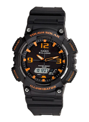 Casio Solar Analog/Digital Watch for Men with Resin Band, Water Resistant, AQ-S810W-8AVDF, Black-Orange/Black