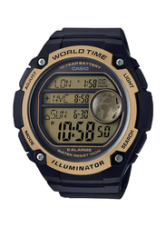 Casio Digital Watch for Men with Resin Band, Water Resistant, AE-3000W-9AVDF, Black-Black/Gold