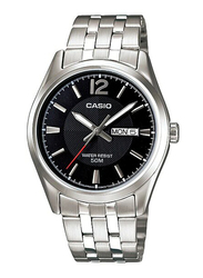 Casio Enticer Analog Watch for Men with Stainless Steel Band, Water Resistant, MTP-1335D-1A, Silver-Black