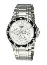 Casio Enticer Analog Quartz Watch for Men with Stainless Steel Band, Water Resistant and Chronograph, MTP-1300D-7A1VDF, Silver
