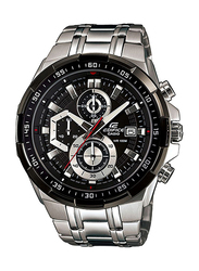 Casio Edifice Analog Watch for Men with Stainless Steel Band, Water Resistance and Chronograph, EFR-539D-1A, Silver-Black
