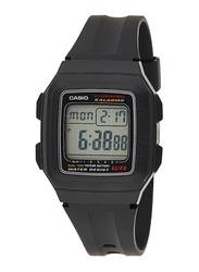 Casio Youth Digital Unisex Watch with Resin Band, Water Resistant, F-201WA-1ADF, Black-Silver/Black