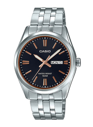Casio Enticer Analog Watch for Men with Stainless Steel Band, Water Resistant, MTP-1335D-1A2VDF, Silver-Black