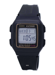 Casio Youth Digital Unisex Watch with Resin Band, Water Resistant, F-201WA-9ADF, Black-Gold/Black