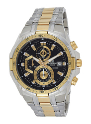 Casio Edifice Analog Watch for Men with Stainless Steel Band, Water Resistance and Chronograph, EFR-539SG-1AVUDF, Silver/Gold-Black