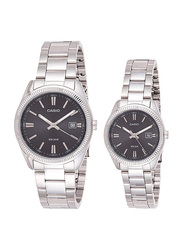 Casio Enticer Analog Quartz Couple Unisex Watch Set with Stainless Steel Band, Water Resistant, MTP/LTP-1302D-1A1V, Silver-Black