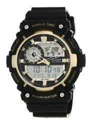 Casio Youth Series Analog/Digital Watch for Men with Resin Band, Water Resistant, AEQ-200W-9AVDF, Black-Gold