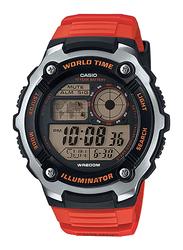 Casio Digital Quartz Watch for Men with Resin Band, Water Resistant, AE-2100W-4AVDF, Orange-Black