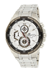 Casio Edifice Analog Watch for Men with Stainless Steel Band, Water Resistance and Chronograph, EFR-539D-7A, Silver-White