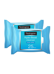 Neutrogena Hydro Boost Cleanser Facial Wipes, 25 Sheets x 2 Pieces