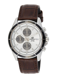 Casio Edifice Analog Watch for Men with Leather Band, Water Resistance and Chronograph, EFR-526L-7AVUDF, Brown-White