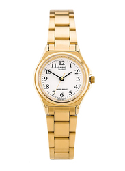 Casio Enticer Analog Quartz Watch for Women with Stainless Steel Band, Water Resistant, LTP-1130N-7BRDF, Gold-White