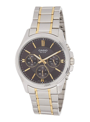 Casio Enticer Analog Quartz Watch for Men with Stainless Steel Band, Water Resistant with Chronograph, MTP-1375SG-1AVDF, Silver/Gold-Black