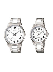 Casio Enticer Analog Quartz Couple Unisex Watch Set with Stainless Steel Band, Water Resistant, MTP/LTP-1303D-7B, Silver-White