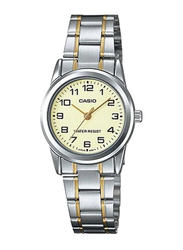 Casio Enticer Quartz Analog Watch for Women with Stainless Steel Band, Water Resistance, LTP-V001SG-9BUDF, Gold/Silver-Gold